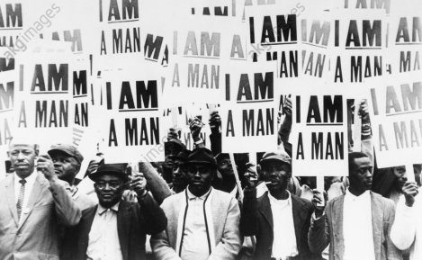 "History / United States of America: African Americans. ""I am a man"". Striking black workers in Memphis 1968. Photo."