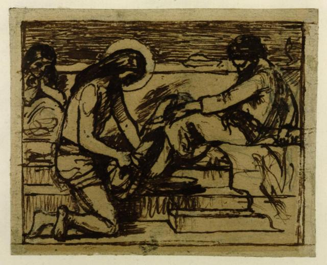 Sketch for 'Jesus Washing Peter's Feet' c.1851 by Ford Madox Brown 1821-1893