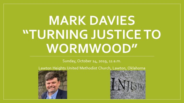 Mark Davies Justice into Wormwood